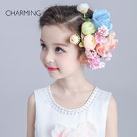 beautiful bamboo fiber - Hair flower beautiful Kids beauty contest And wedding hair tiara Kids dresses for girls Best flower girl Product supplier china