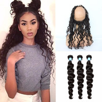 Wholesale 8A Peruvian Loose Wave Human Hair Weave With Lace Frontal Closure Ear To Ear Full Frontal Lace Band Closure With Bundles