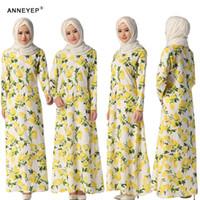 2016 New Fashion Dubaï turc Vêtements Yellow Flower Maxi Dress Kaftan Malaisie Jubah robe musulmane Jilbab femmes musulmanes Vêtements