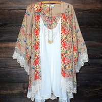 Wholesale New arrivalFshion Women s Boho Style Lace Floral Printed Kimono Loose Long Tops