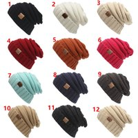 Wholesale 12 Colors Winter Knitted Woolen CC Trendy Hat Label Fedora Luxury Cable Slouchy Hats Fashion Beanies Thick Warm Hat Outdoors New Mens Women