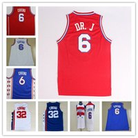 aba basketball - Cheap Red DR J Retro Basketball Jersey Stitched White Blue ABA College Retro Throwback Julius Erving Mesh Shirt Good