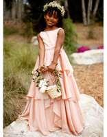 Wholesale Girls blush pink chiffon cascading beach party gowns scoop flower girl dresses for wedding vestido comunion