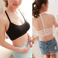 Cheap Wholesale-2016 woman fashion all-match Four stripe cross hollowed out small sling wrapped chest bra strap vest #NS342