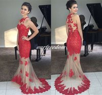 baile style - New Style Red Mermaid Lace Applique Long Prom Dresses Sleeveless Tulle Formal Evening Gown Party Dress vestidos de baile