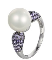 amethyst fine jewelry - Fashion Fine Rings Jewelry Sterling Silver White Shell Pearl Ring Amethyst CZ with Rhodium Plated for Women Anniversary Ring NR74400G