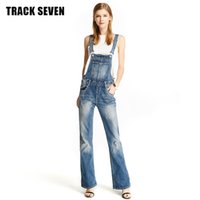 Wholesale TRACK SEVEN Women Jeans Series Fashion Streetwear Bleached Straight Ripped Boyfriend Flare Overalls For Women Z1890