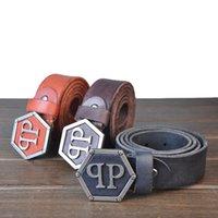 al por mayor belts wholesale belts-LCL Brand Cinturones de cuero para hombres alta calidad del diseñador 100% de la correa de cuero de vaca genuino de la correa hecha a mano al por mayor de la marea de acero hebillas 105cm-125cm