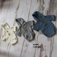 baby sitter - Sitter hooded onesie Knit romper Newborn knitted baby hooded romper Baby bonnet and romper sets Baby photography prop photo prop