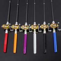 Wholesale Mini Aluminum Portable Pocket Pen Shape Fishing Fish Rod Pole Reel Silver F00190 SMA