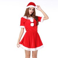 Wholesale new outfit sexy Christmas Halloween costume party Christmas dress uniform dress appeal Red all code uniform dress appeal
