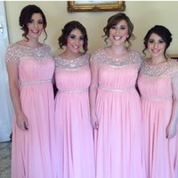 bead groups - Chiffon Bridesmaid Dresses A Line Fresh Pink Cap Sleeves Sequined Beaded Bridesmaid Group Summer Beach Wedding Party Maid Of Honor Gown