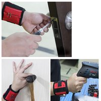Wholesale Magnetic Wristband Pocket Tool Belt Pouch Bag Screws Holder Holding Tools Red and Blue