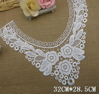 Wholesale White Venise Embroidery Fabric flower lattice neckline fabric DIY lace collar fabric Water solubl for patchwork sewing wedding dress LC