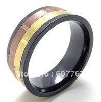 aniversary gifts - Fashion L Stainless Steel Three Colors Coffee Gold Black Wedding Engagement Aniversary Comfort Fit Rings SZ