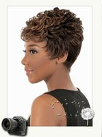 Wholesale Fantastic nice color brown short natural wave fashion synthetic hair wigs for black women