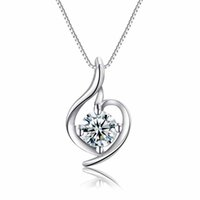 authentic silver swarovski - Authentic Stealing Silver Pendant Necklace Swarovski Style Platinum Plating Clear AAA Zircon Jewelry A01 New