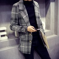 Wholesale 2016 men s fashion casual single breasted plaid woolen trench coats male pocket decoration long woolen coats