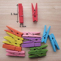 Wholesale 100pcs Beautiful Design Colorful Wooden Clips Paper Photo Spring Clips For Message Cards Office Supply Party Decoration