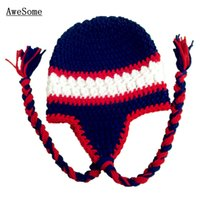 baby texans - Adorable Crochet Texans Football Baby Hat Handmade Knit Crochet Baby Boy Girl Earflap Hat Infant Toddler Photography Prop Baby Shower Gifts