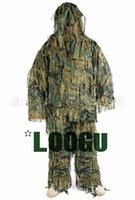 Wholesale Stripes Camouflage Suit D Leave Anti flame Camouflage Suit Jungle Hunt Birding Ghillie suit Polyester Durable Sniper Kit