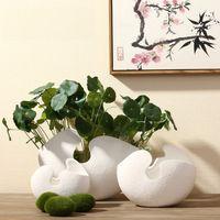 art ceramic - Pure Handmade Porcelain Three Size Flower Shape Vases Interior Design Pot Luxury Modern Style Decorative Ceramic Art Vase White Color Eggsh