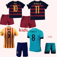 barcelona uniform - 2015 Kids Barcelona jersey Youth Arda A iniesta Suarez Messi Neymar jr Soccer Jerseys Boys Third Barce Jersey Kit Uniform Children Kits