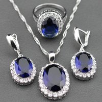 abalone jewelry box - Flawless Blue Sapphire Sterling Silver Jewelry Sets Earrings Pendant Necklace Ring For Women Free Jewelry Box