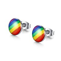 Wholesale Fashion Jewelry Stainless Steel Rainbow Round Dot Stud Earrings for Men Women