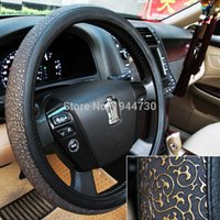 Wholesale Retro Carved Breathe PU leather Car Steering Wheel Cover Luxury Anti Slip Steering wheel cover Diameter cm cm cm