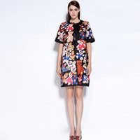 bear hide - New Arrival Autumn Women s O Neck Short Sleeves Bears Printed Hidden Cover Fashion High Street Characters Dresses