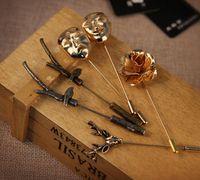 Wholesale Hot Sale Top Quality Handmade Flower Boutonniere Stick Brooch Pin Men Accessories Men Lapel Pin Brooch Flower Suit