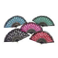 antique needlepoint - Spain Style Lace Gilt edge Plastic Fan Needlepoint Colour Butterfly Transparent Lace Plastic Fan