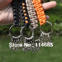 Wholesale Camping Hiking Travel Kits paracord keychain key hand rope outdoor products alloy keychain product like keychain