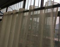 Wholesale Ivory soft slub yarn leaf design embroidered curtain window screen Sheer Curtains