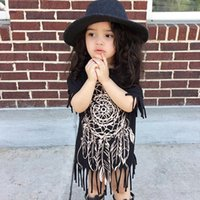 Wholesale Hot Sale Summer New Kids Tassels Dress Short Sleeve Girl Black Dress Cotton Material Dress