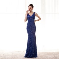 Wholesale Elegant Navy Blue Dresses V neck Design Made of High Quality Lace Handmade D Beads and Sequins Price