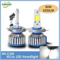 Wholesale Hot sale Hi lo beam H4 HB2 COB LED Head bulbs w LM K Xenon White LED Fog waterproof Replacement Bulb Headlight