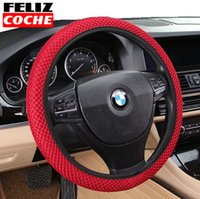 Wholesale FELIZCOCHE Sandwich Fabric Handmade Steering Wheel Cover Breathability Skidproof Universal Fits Car Styling Steering Wheel A3503
