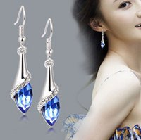 blue stainless steel earring - Fashion crystal earrings Europe and Japan and South Korea long section of diamond earrings female hypoallergenic earrings
