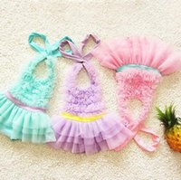 Wholesale EMS or DHL Kids NEW Baby Girls Ruffles Halter Swimsuit bathsuit Swimhat beachwear Swimwear Children Swimsuit