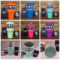 Wholesale 2016 new Colorful yeti Tumbler Rambler Cups cooler cup oz Powder Coated Mugs Large Capacity Stainless Steel Tumbler Mug color KKA569