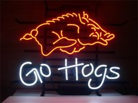 Wholesale NEON SIGN For ARKANSAS RAZORBACKS GO HOGS Custom Store Lighting Display Beer Bar Pub Club Lights Signs Shop Decorate Real Glass Tube Bulbs