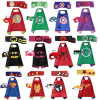 Wholesale kids Superhero Cape batman super hero cape with mask for children party set cape mask belt pair wristband in stock
