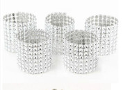 Wholesale Silver quot Row Bow Covers Napkin Rings Diamond Rhinestone Wedding Chair Sashes Bows
