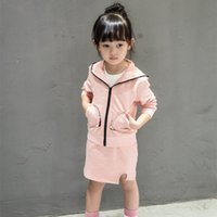 baby steps clothing - Baby Girls Skirt Set Children Sets Kids Clothing New Solid Color Bunny Hood Cardigan Sweater Tops One Step Skirt Girl Clothing XY054
