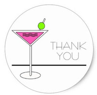 Wholesale 1 inch Bachelorette Pink Martini Cocktail Party Classic Round Sticker