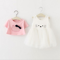 pretty girl - Childrens Pretty Korean Style Princess Outfit Hot Sale Girls Cartoon Kitty Fashion Set Short Sleeve T shirt And Ball Gown Dress Set
