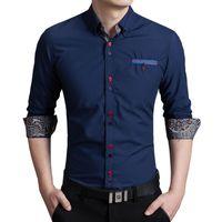 Wholesale Mens Long Sleeve Dress Shirts Colored Buttons Modify Fashion Business Slim Fit Cotton Shirts C58