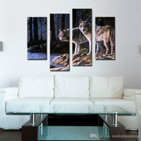 arctic pictures - 4 Pieces Wall Art Decor Picture of Two White Arctic Wolves in The Woods In Winter Animal Wolf Oil Painting on Canvas For Home Decoration